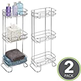 mDesign Free Standing Three-Tier Bathroom Corner Storage Shelves for Towels, Lotions and Tissues - Pack of 2, Chrome