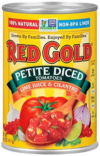 Red Gold Petite Diced Tomatoes Lime & Cilantro, 14.5oz Can (Pack of (Fiesta Tomatoes)