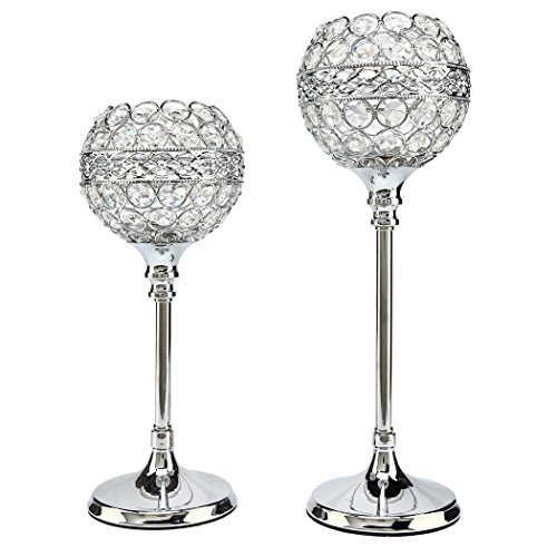 "Easeurlife Silver Crystal Candle Holders Set of 2 Pack(Silver, 11.8"" & 13.8"")"