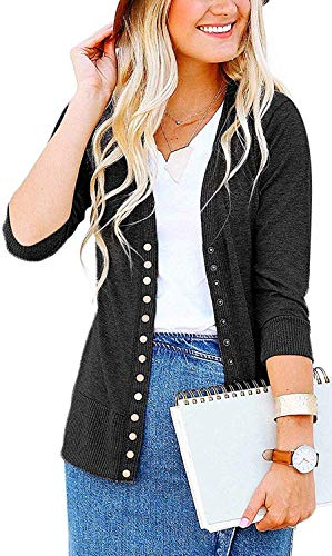 Women's S-3XL Solid Button Front Knitwears 3/4 Sleeve Casual Cardigans Charcoal 3XL ()
