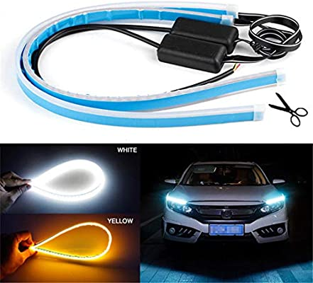 Velidy 2pcs LED Flexible Soft Tube Led Car Headlights,DRL Daytime Running Lights Turn Signal Light