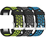 SKYLET For Fitbit Charge 2 Bands, 3 Pack Breathable Silicone Replacement Bands for Fitbit Charge 2 with Secure Watch Clasp (No Tracker)[Large, 3PC: Black-Green&Black-Grey&Black-Blue]