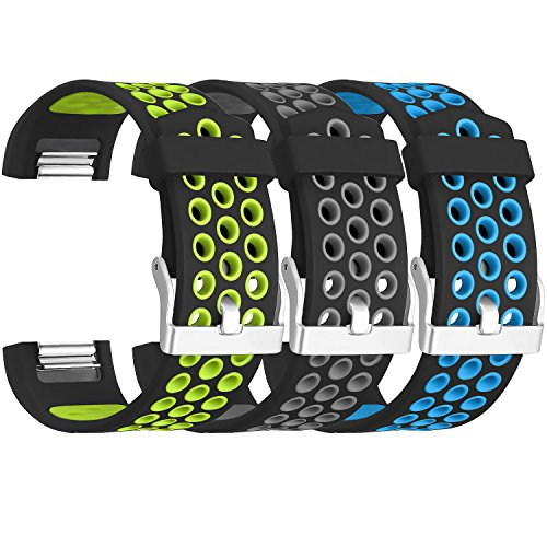 SKYLET For Fitbit Charge 2 Bands, 3 Pack Breathable Silicone Replacement Bands for Fitbit Charge 2 with Secure Watch Clasp (No Tracker)[Large, 3PC: Black-Green&Black-Grey&Black-Blue] by SKYLET
