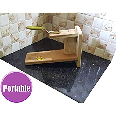 MDT India Table Top Teak Wooden Coconut Scraper Grater Shredder Movable Chirava Place Anywhere 12