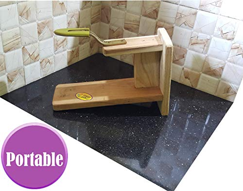 MDT India Table Top Teak Wooden Coconut Scraper Grater Shredder Movable Chirava Place Anywhere 5
