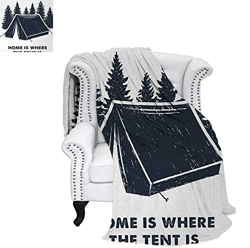 Custom Design Cozy Flannel Blanket Home is Where The Tent is Lettering with Pine Trees Camping Travel Theme Weave Pattern Blanket 50