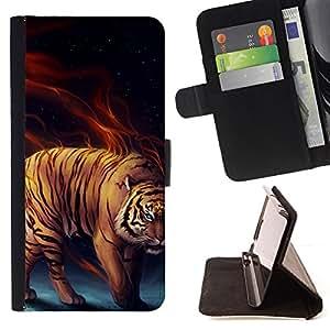 - Power tiger Fierce Cat - - Monedero PU titular de la tarjeta de cr????dito de cuero cubierta de la caja de la bolsa FOR Samsung Galaxy S5 Mini, SM-G800 RetroCandy