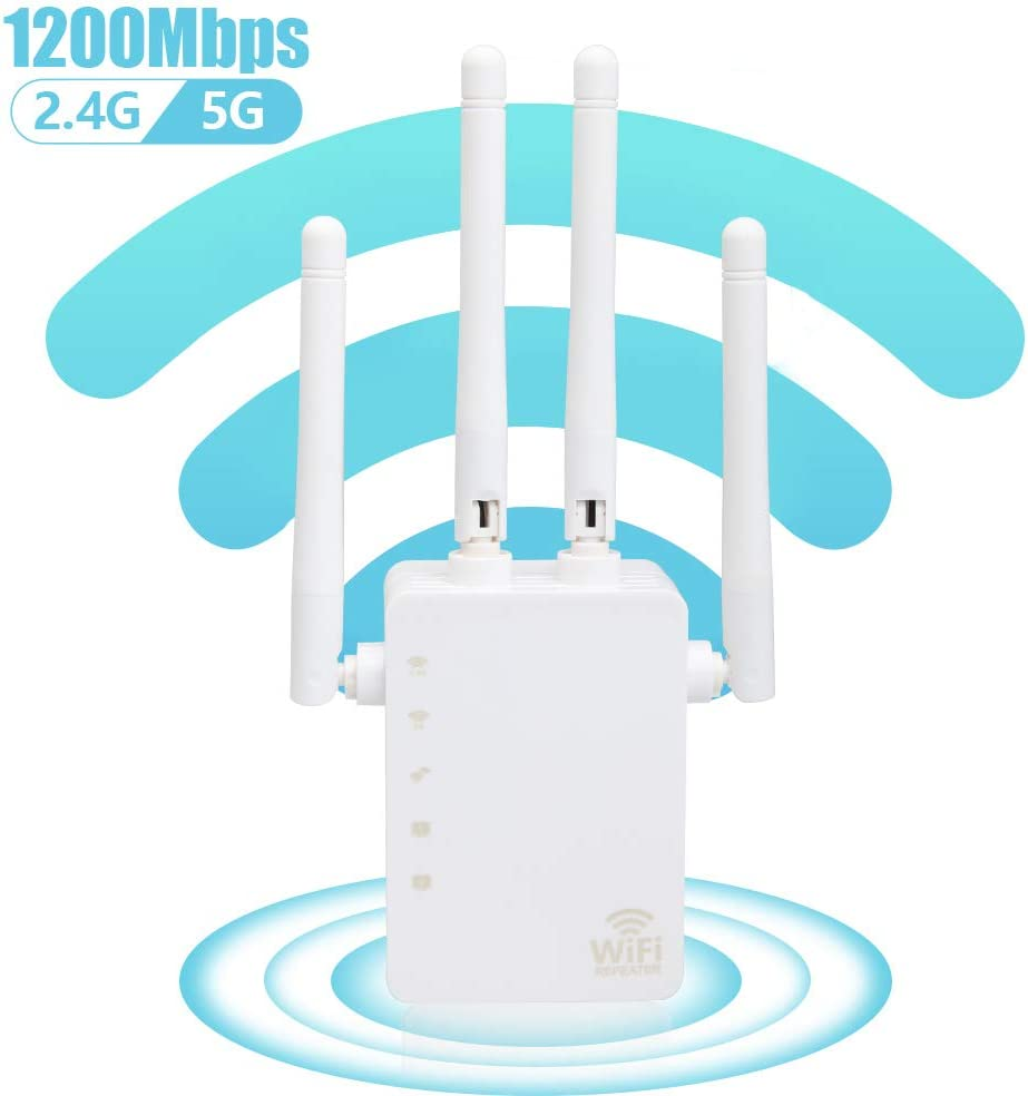 1200Mbps WiFi Range Extender, Carantee Wireless Signal Repeater Booster 2.4 & 5GHz Dual Band 4 Antennas 360° Full Coverage, Extend WiFi Signal to Smart Home & Alex Devices (White)