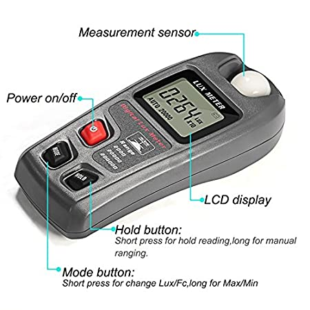 XSMeterHouse Light Meter Tester Measuring Luxmeter with Digital LCD Display for Study Plants Living Room Range: 0.1~200,000Lux, 0.01~20,000Fc