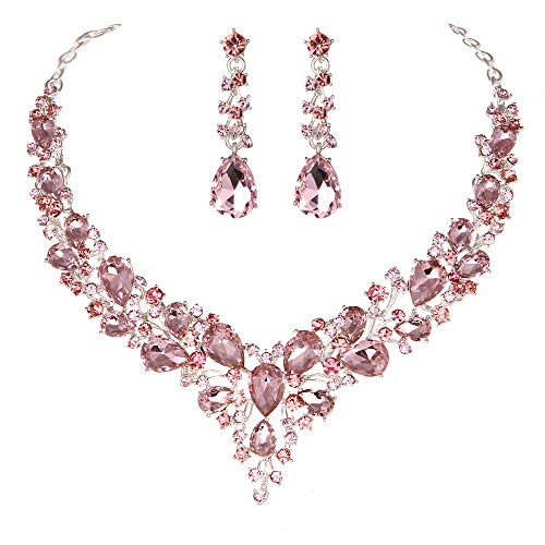Youfir Bridal Austrian Crystal Necklace and Earrings Jewelry Set Gifts fit with Wedding Dress (Pink)