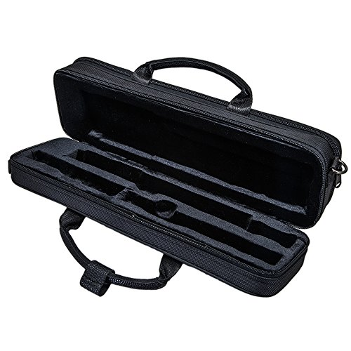 Paititi Genuine Leather ''B'' Flute Lightweight Case with Shoulder Strap Black Color by Paititi (Image #2)