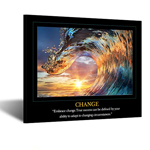 Kreative Arts Motivational Self Positive Office Quotes Inspirational Success Teamwork Posters Canvas Prints Amazing Ocean Wave Pictures Sunset on Sea Landscape Wall Art for Big Room Hall Office - Motivational Poster Teamwork