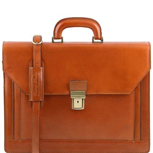 81413484 - TUSCANY LEATHER: NAPOLI (N) Aktentasche Notebook Tasche aus Leder mit 2 Fächern, honig