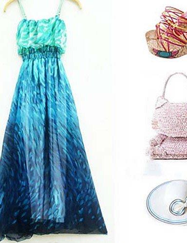 PU&PU Robe Aux femmes Swing Plage , Imprimé A Bretelles Maxi , blue-one-size , blue-one-size