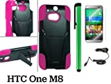 HTC One M8 Premium Heavy- Duty KickStand Design Protector Hard Cover Case (For 2014 HTC New Flagship Android Phone) + Car Charger + Screen Protector Film + Car Charger + 1 of New Assorted Color Metal Stylus Touch Screen Pen (PINK / BLACK)