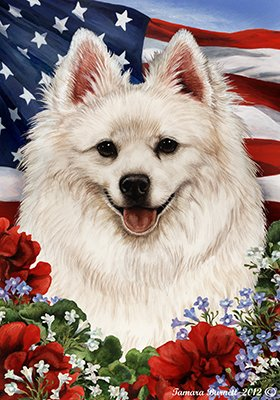 American Eskimo – Best of Breed Patriotic Large Flags For Sale