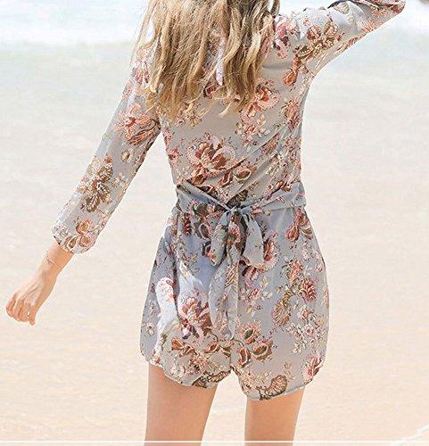 Costume Skirt Swimsuit a intero da con donna Beach in bagno da pettorale pezzi cotone Azzurro tre HOMEE gonna qt4xpfEwf