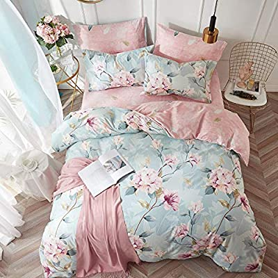 VClife Kid Bedding Sets Cotton Duvet Cover Sets Blue Pink Floral Garden Pattern Bedding Twin 1 Duvet Cover 2 Pillow Cases Boho Hotel Bedding Sets Twin for Girl Woman Teens Zipper Closure Bedding: Home & Kitchen