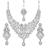 Touchstone Indian Bollywood traditional royal look attractive filigree carving white Rhinestone grand bridal designer jewelry necklace set for women in silver tone