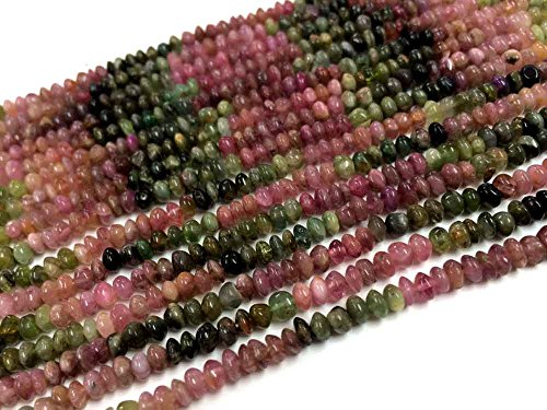 AAA QUALITY TOURMALINE SMOOTH RONDELLE HEISHI SHAPE LOOSE GEMSTONE BEADS 13