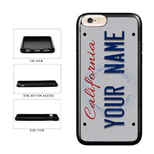 BleuReign(TM) Personalized Custom Name California State License Plate TPU RUBBER SILICONE Phone Case Back Cover For Apple iPhone 8 Plus and iPhone 7 Plus -