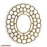 Handmade Gold Oval Mirror, Decorative Wood wall mirrors, Mirror for Wall Decor, Peruvian mirrors,''Gold Treasure cuzco''