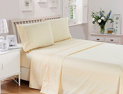 4 Piece Bed Sheets Set King Checkered - Hotel Quality 4 Piece Deep Pocket 1800 Series Bed Sheet Set, Comfortable, Breathable, Soft & Extremely Durable (King ,Cream) (Checkered Sheets)