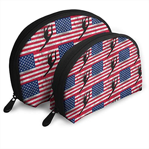 - American Flag Gymnastics Dancer Shellfish Cosmetic Bag Shell Shape Portable Storage Bags Luxury Toiletry Pouch