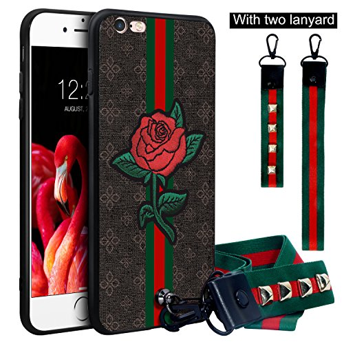 Dairnim iPhone 6s Case, 3D iPhone 6 Case, Ultra-Slim Non-Slip [ Rose Pattern Relief ] Soft TPU (Long Short Lanyard) Vintage Protective Phone Case Compatible with iPhone 6/6s 4.7, Brown Rose