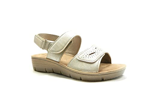 INBLU LI 10 Sandali Donna con Fasce Regolabili Plantare Soft Sabbia
