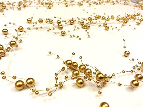 CraftbuddyUS 2M Gold Acrylic PEARL Garland Spray Cake Floral Deocoration Wedding Supplies - Spray Display