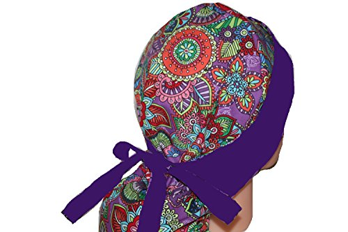 Mod Butterfly Hats (Scrub Hat Chemo Cap Ponytail MANY COLORS Available (mod butterfly))