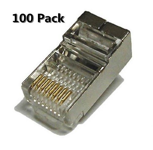 8c Modular Plugs (Inovat 100 Pack Metal Shielded RJ45 CAT5E CAT6 Crimp Connector RJ-45 8P8C Ethernet Network CAT5E CAT Modular Network Cable Plug Connector)