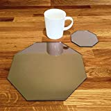 Super Cool Creations Octagonal Placemat and Coaster Set, Bronze Mirror - 4 Placemats and 4 Coaster - Standard