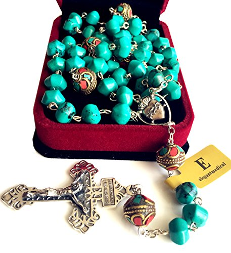 elegantmedical Turquoise TIBET COPPER BEADS STERLING 925 SILVER ROSARY NECKLACE Catholic (Childrens Rosary Beads Silver Sterling)