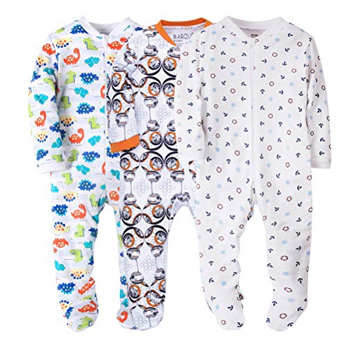 3 Pack Baby Boys' Footed Pajama - 100% Cotton Zip Front Sleep and Play Sleeper ()