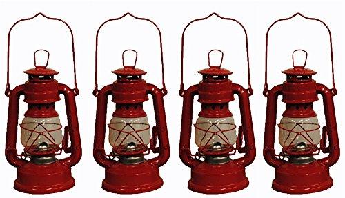 Red Hurricane Kerosene Oil Lantern Emergency Hanging Light / Lamp - 8 Inches (4) (Red Hurricane)