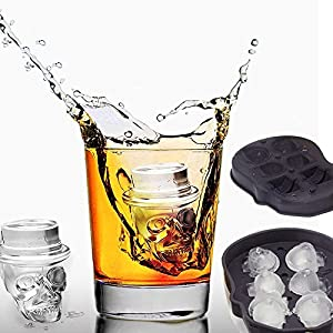 Modernlife 3D Skull Ice Cube Mold, Black BPA Free Silicone Mold Tray with Lid, 6 Cavity, Ice Cube Maker for Whiskey, Cocktail, Beverages 2 Packs