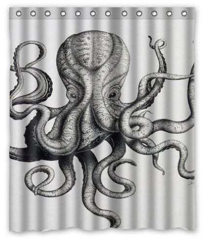 Best Black and White Octopus Shower Curtain Designs - cover
