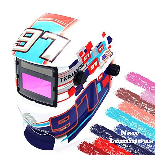 Tekware Welding Helmet Solar Power Auto Darkening Hood Welder Mask Breathable Grinding Helmets with Adjustable Shade Range (Race Car-White)