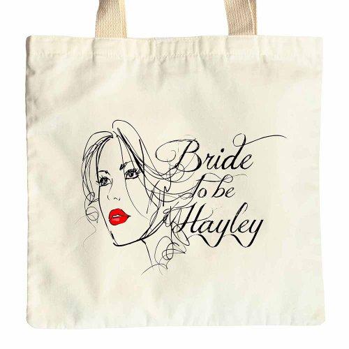 NEW Bride To Be Mrs Face Sketch Cotone Borsa Shopper Borsa Regalo di nozze