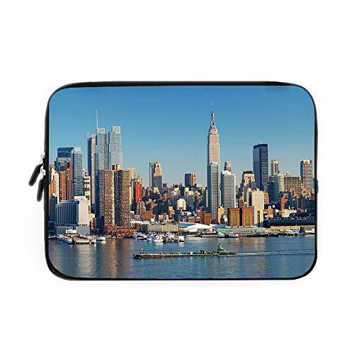 (New York Laptop Sleeve Bag,Neoprene Sleeve Case/Urban City Skyline Manhattan with Empire State Building Over Hudson River Panorama/for Apple MacBook Air Samsung Google Acer HP DELL Lenovo ASU )