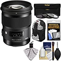 Sigma 50mm f/1.4 ART DG HSM Lens with 3 UV/CPL/ND8 Filters + Case + Kit for Canon EOS Digital SLR Cameras