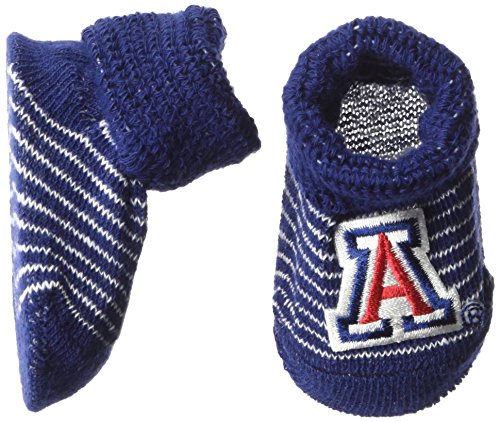 NCAA Arizona Wildcats Infant Stripe Gift Box Booties, New Born, Navy//White