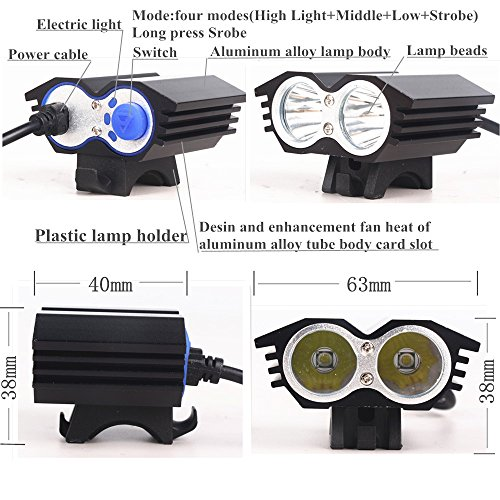 ETpower 5000 Lumens XM-L U2 LED Bicycle Light with 8.4V Battery Pack & Charger 4 Modes Waterproof LED Bike Lmap headLight Super Bright Lighting Lamp for Outdoor Sports Like Cmaping Hiking(BLACK)