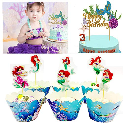 Anyana beach cake Toppers 1pc + 24 sets cupcake mermaid tail Wrappers + toppers Birthday Party Supplies, ocean Cake Decoration + Baby Shower -