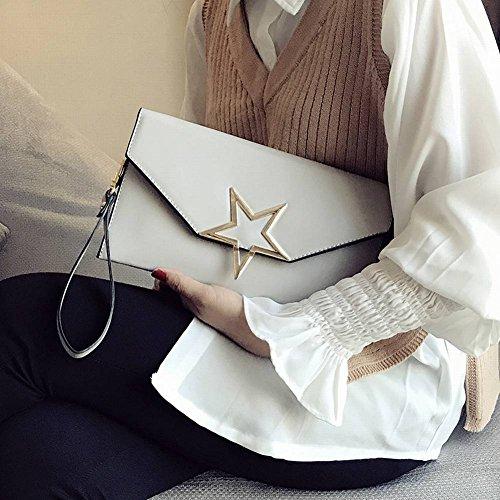 Hand Halten Weibliche Umschläge Handtaschen Packen Messenger Messenger Tasche Personalisierte Mode Wild Temperament Paket , hellgrau