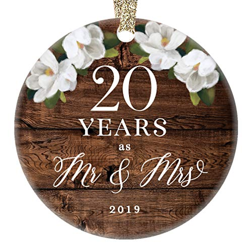 """Mr. & Mrs. 2019 Christmas Ornament 20th Twentieth Wedding Anniversary Porcelain Keepsake Present 20 Twenty Years Married Country Floral 3"""" Flat Ceramic Collectible with Gold Ribbon & Free Gift Box"""