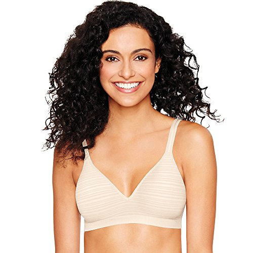- Hanes Women's Ultimate Perfect Coverage Foam Wirefree, Porcelain Shadow Stripe, Small