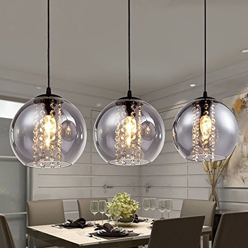 Modern Glass Ball Crystal Ceiling Light Kitchen Bar Pendant